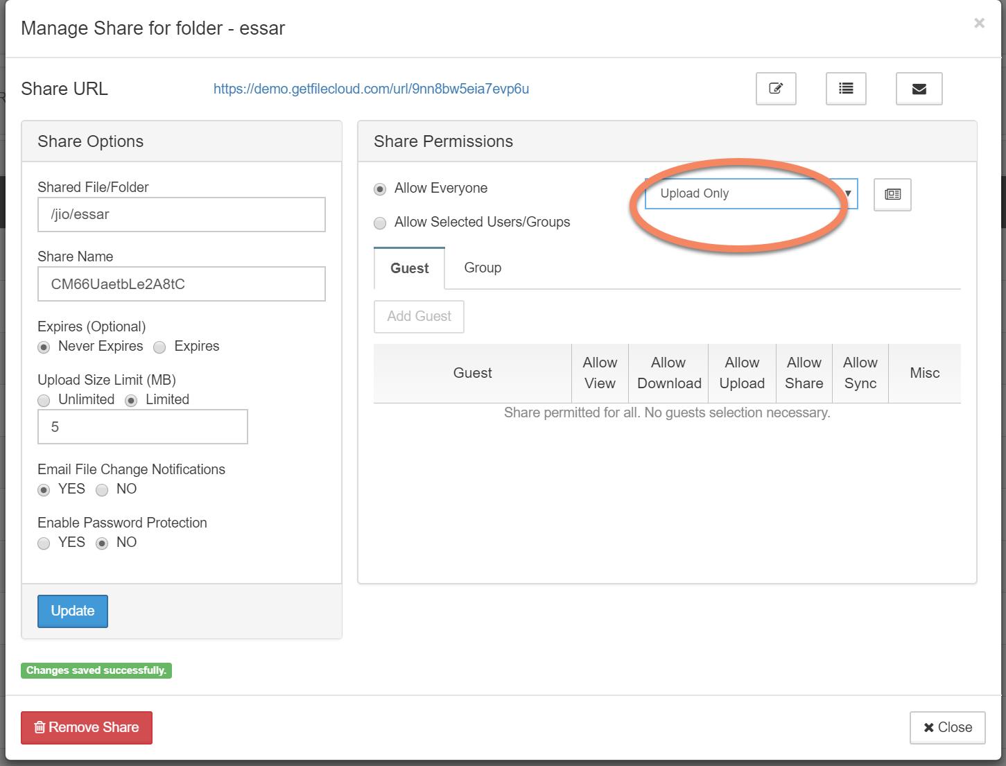 Secure file sharing - Upload only option